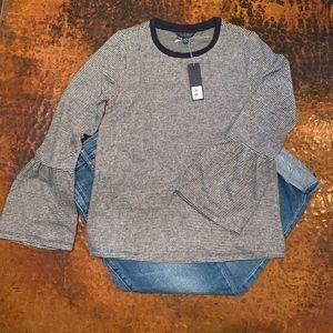 NWT - Lucky Brand Stripe Jersey Bell Sleeve Tee